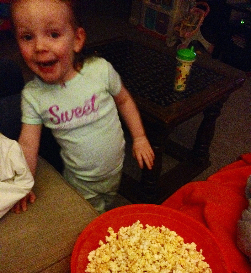 Madeline with Popcorn - Loving the Terrible Twos - Movie with Mads